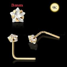 Cz Star Nose Ring L-Shape Bar Pin 9Kns017 1x 22g 9K Solid Yellow Gold 3mm Gem