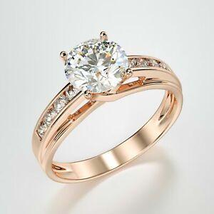 2.20 Ct Round Cut VVS1/D Diamond Women's Engagement Ring 14k Rose Gold Finish