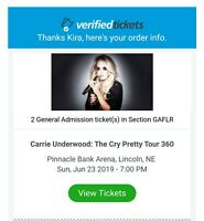 Carrie Underwood 2 GA tickets Lincoln Pinnacle Bank Arena
