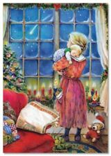 Lisi MARTIN~ LITTLE Child and Mom Maternity Christmas tree ART KIDS postcard