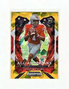 Justin Fields 2021 Prizm Draft Picks All-Americans Rookie Gold Cracked Ice #192