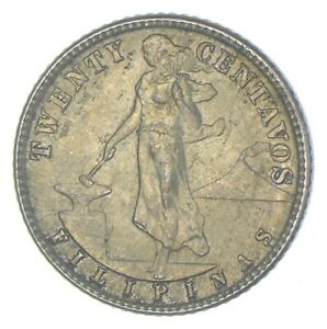 Roughly Size of Nickel 1944 Philippines 20 Centavos World Silver Coin *065