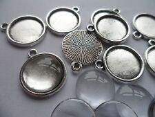 NEW 10 x 14mm Pendant Making kit~10 Silver Settings 20x17x2mm  14mm Cabochons .