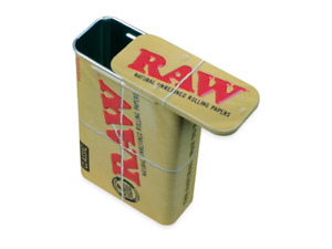 RAW Authentic Classic Metal Sliding Top Tobacco Rolling Tin Storage Box Durable