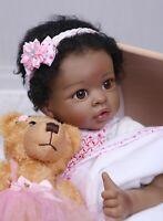 "22"" Reborn Black Baby Girl Doll Silicone Vinyl Newborn Lifelike Ethnic Big Eyes"