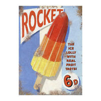 Classic Rocket Lolly Metal Advertising Sign Vintage Retro Sweets Plaque Outdoor