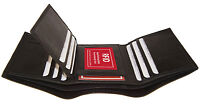 RFID Blocking Leather Mens Trifold Wallet 12 Card ID  Center Flap Front Pocket