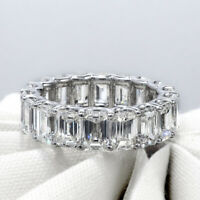 Natural 2.50 Ct. Emerald Cut Diamond Eternity Ring Wedding Band 14K Gold(F-G/VS)