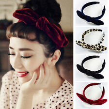 Women Velvet Headband Leopard Knot Bow Girl Hairband Cute Rabbit Ear Hair  Bands 5c421924309