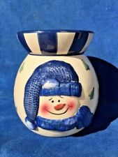 Vintage SNOWMAN Blue Frosty Snowbuddy Tealight Candle Tart Burner Fits Yankee