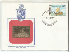 Barbados FDC Ship International Postal Collectors League w/Gold replica,VF