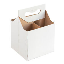 *4 Per Order* 12 oz Cardboard 4 Pack Beer Bottle Carrier White Weather Proof!