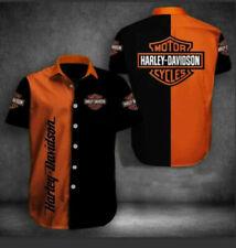 Harley Davidson Black And Orange Button Up Short Sleeve Hawaiian Shirt All Size