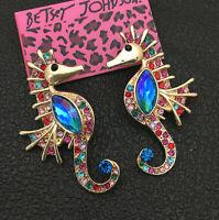 Women's Colorful Crystal Cute Seahorse Betsey Johnson Stud Earrings