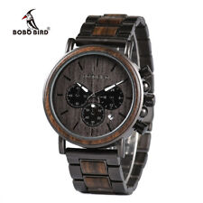 BOBO BIRD Mens Wood Watches Luxury Sport Wooden Watches Stainless Steel Watches