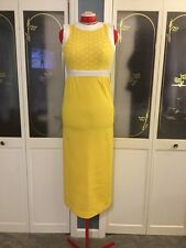 Vintage Mod 1960's Sunflower Yellow And White Textured Polka Dot Maxi Dress