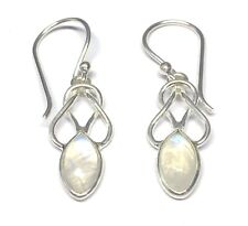 Handmade in 925 Sterling Silver, Rainbow Moonstone Celtic Drop Earrings With Box