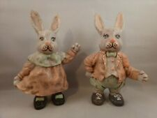 Charming Molded Mr and Mrs Bunny Rabbit Figurine Pink,Gray and Blue