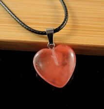Cherry Quartz Gemstone Heart Pendant on a Black Cord Necklace #800