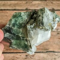 "Fluorite w/ Aragonite and Pyrite Crystal Cluster: 1lb 0.4oz (464 g); 4.0"" Long"