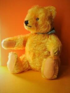 STEIFF VINTAGE 1950s FIRM BODIED JOINTED GOLDEN MOHAIR TEDDY BEAR WITH BUTTON