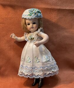 "Vtg White/ Blue embroidered cotton dress/German/French mignonette dolls 7.5""&8"""