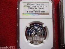 2009 Poland Silver 10zl NGC PF69  Warsaw Economics School Polish Coin