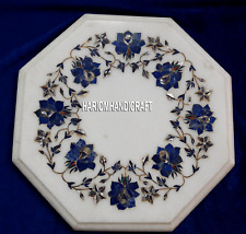 """12"""" Marble Lapis Lazuli Floral Art Table Coffee Top Inlay Outdoor Decor H4099"""