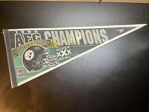 Vintage 1995 AFC Champions Pittsburgh Steelers Pennant - Made In USA - Free Ship