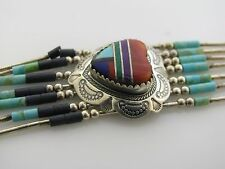 Liquid Sterling Silver Necklace Multi stones Beads Inlayed Heart Turquoise Lapis