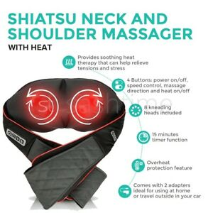 Neck Electric Shoulder Massager Back Massage Shiatsu Kneading Pain Relief Heat