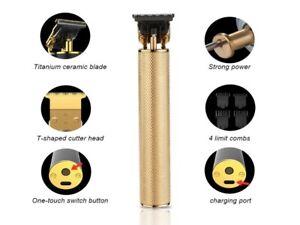 MENS BEST GIFT SET CORDLESS ELECTRIC HAIR, BEARD TRIMMER/CLIPPER - Type C - GOLD