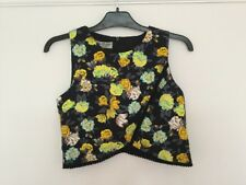 Womens Parisian Collection black & yellow top crop top size 8
