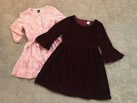 Lot 2 Girls Gap Dresses Burgundy Velvet Bell Sleeve & Pink Ruffle 6 7 8 S M