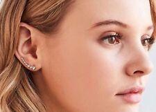 Ear Crawler Earrings Crystal 14k Gold Plated Vine Bar Cuff Climber Studded
