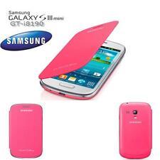 Original Samsung f i8200N Galaxy S3 Mini Flip Cover Case Tasche Akku Deckel Pink