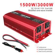 Car Vehicle Power Inverter 1500W 3000W Dc 12V to Ac 110V 120V Converter Usb camp