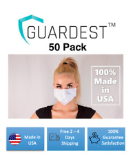 MADE IN USA Guardest 50 Pack 3-Ply Blue Disposable Protective Wear