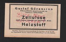 DÜSSELDORF, Werbung 1929, Gustaf Göransson Zellulose Holzstoff