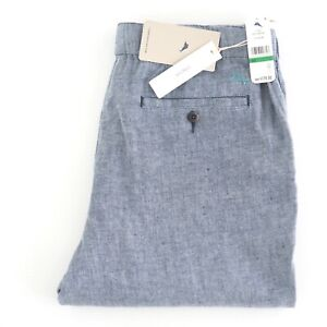 TOMMY BAHAMA Beach Linen Blue Pant BNWT Stretch Classic Chino Fit Size L RRP$178