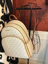 NWT MICHAEL KORS SIGNATURE PVC ABBEY LARGE BACKPACK BAG IN VANILLA/ACORN