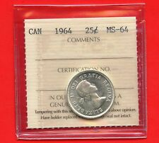 1964 Canada Silver 25 Cent Graded ICCS MS64 Certification # SG 110