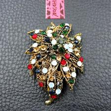 Flower Woman Brooch Pin Gift Betsey Johnson Multi-Color Crystal Rhinestone
