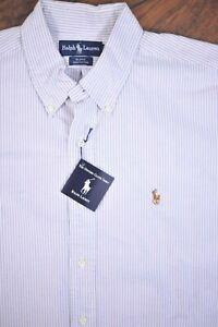 NWT Polo Ralph Lauren SS Oxford Button Front Shirt Purple Stripe Men's XL