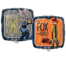 """Zootopia Disney Characters Square 17"""" Foil Balloon Happy Birthday Party 3 Pack"""