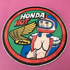 Vintage HONDA HOT motorcycle Pin-Up STICKER - MX motocross Pin Up Girl