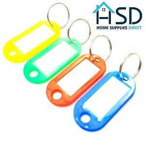 Key Tags Plastic Ring Assorted Colour Name Label ID Keys Tag Luggage Fob Rings