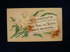 Antique Solomon's Boots Shoes Rubbers  Philadelphia PA Trade Card