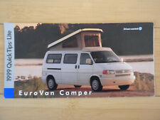 1999 Volkswagen EUROVAN CAMPER QUICK TIPS REFERENCE GUIDE EXC Free Fast Ship