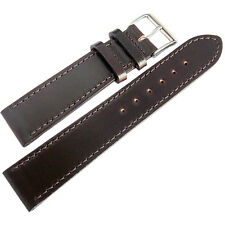 20mm Fluco Brown Shell Cordovan Leather Flat German-Made Watch Band Strap